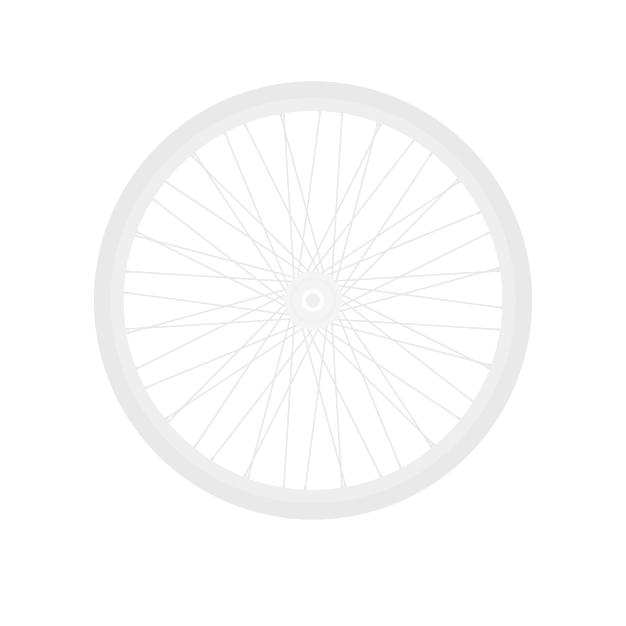 Cyklosedačka predná biela Q150 na mestskom bicykli a cyklosedačka zadna biela s dvojitou taškou na nosič
